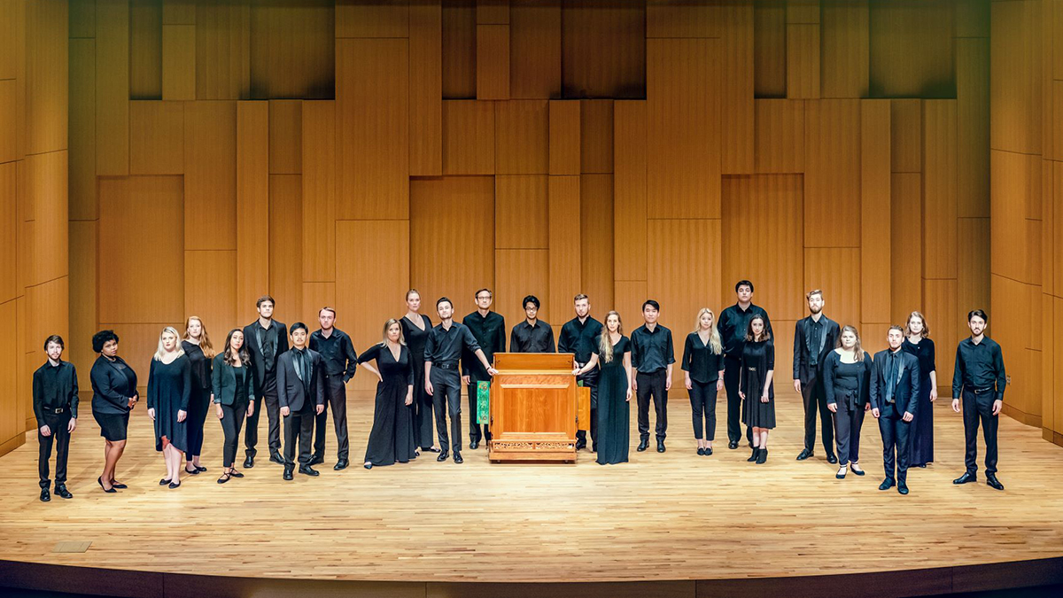 UNT Vox Aquilae Ensemble on stage at Voertman Hall